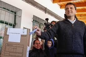 Argentina's opposition leader Sergio Massa votes during the country's midterm elections on Oct. 27.
