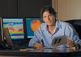 The man and his maps. University of Miami professor Brian Soden studies the atmosphere and its affect on climate change.