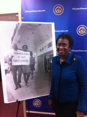 Senator Arthenia Joyner was honored by the Florida Senate for her arrest during a civil rights protest 50 years ago.