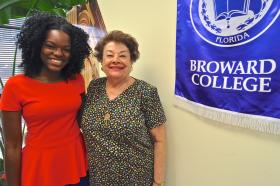 Donor May Jean Wolff meets Thamara Jean, a recipient of Broward College's Wolff scholarship.
