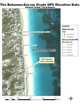 An aerial shot of Harbour Island in The Bahamas showing information about different sea-level rise scenarios.