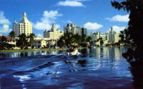 Postcard of Hotel Row and Indian Creek in Miami Beach from sometime after 1948.