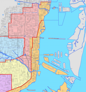 District 5, in pink, with its new and old boundaries. The redistricting has caused some controversy.