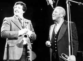 Arturo Sandoval (left) and his hero and mentor, jazz great Dizzy Gillespie.