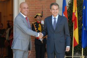Haitian president Michel Martelly meets with Spain's prime minister.