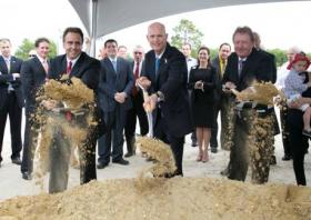 Gov. Rick Scott helped Hertz break ground last month on the rental car company's new corporate headquarters. Hertz is relocating to Estero, FL from New Jersey, creating an anticipated 700 jobs in the state.