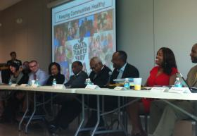 Medical professionals selected by Legacy Magazine discuss the state of black healthcare in South Florida. Author and speaker Casandra Roache (far left) moderated the panel discussion.