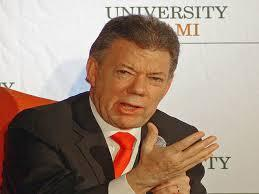 Colombian President Juan Manuel Santos speaking at the University of Miami on Dec. 2