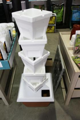 The Urban Farmer sells a Styrofoam tower for vertical gardening
