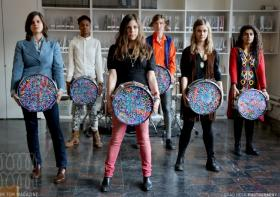"Female drummers will perform ""First Beat"" at PAMM this Saturday."