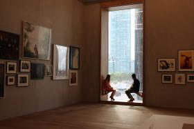 A peek at the city from inside the Perez Art Museum Miami.