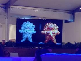 A presentation of work by a Beatriz Millar, a woman artist, at the symposium.