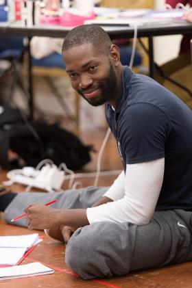 Playwright Tarell McCraney, director of 'Antony and Cleopatra,' during a rehearsal in London