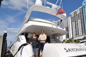 In Sunset Harbor Antonio Maldonado and Jessica Londono-Sammet are aboard one of the vessels their company, The Advantaged Yacht Charters and Sales, rents out. The business recently began accepting Bitcoin.
