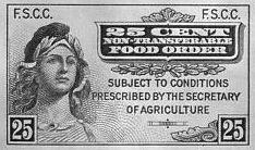 One of the first U.S. food stamps.