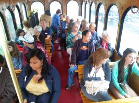 Locals embark on the first Homestead national parks trolley ride.