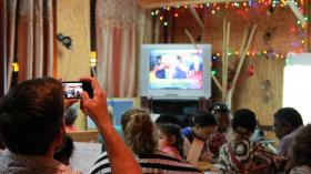 Immigration reform leaders gathered at La Pupusa Factory in Little Havana to watch the State of the Union.