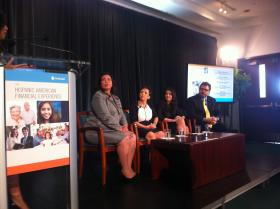 Panel discussing the results of the Prudential survey at the Adrienne Arsht Center. From left to right are former US Treasurer Anna Escobedo Cabral, CEO of Hispanic Unity of Florida Josie Bacallao, and from Prudential, Alexandra Galindez and George Castineiras.