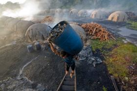 An enslaved worker hauling charcoal for pig-iron production in rural Brazil.