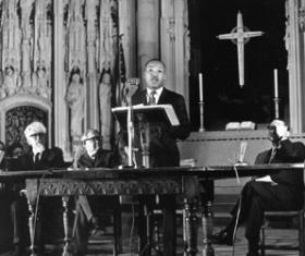 Martin Luther King Jr. delivers his last Sunday sermon at the Washington Cathedral. He focused on the nation's responsibility to tackle poverty.