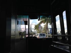 The view from inside the 120 bus en route to South Beach.