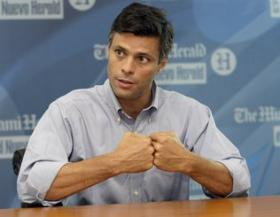 Leopoldo Lopez speaking to the Miami Herald/El Nuevo Herald editorial board last year.