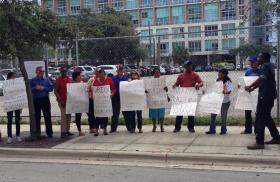 There was a protest outside the hall where Rubio spoke.
