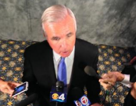 Miami-Dade County Mayor Carlos Gimenez speaks to reporters after his State of the County address.