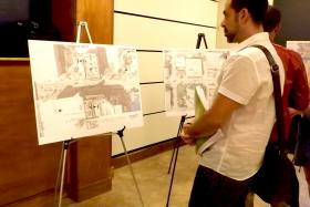 A resident who will be affected by the construction on Biscayne Blvd. reviews the plans.
