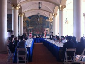 Miami Dade College president Dr. Eduardo J. Padron addresses the DREAMer scholarship recipients.