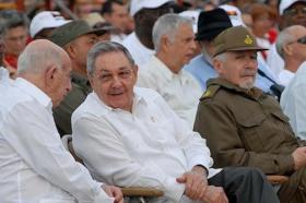 Cuban leader Raul Castro with leaders of the ruling communist party.
