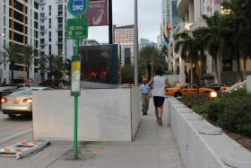 """Ruiz says a lot of the sidewalks and crosswalks around the city are disrupted, or obstacles like signs and bus shelters make it hard to get around."""
