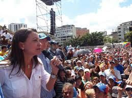 Expelled National Assembly member Maria Corina Machado addressing an opposition rally in Caracas last month.