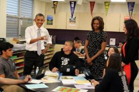 President Obama was accompanied by his wife to meet select students before he came out and spoke in the gymnasium.