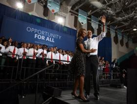 President Obama says he and his wife are successful because of the education they received after high school.
