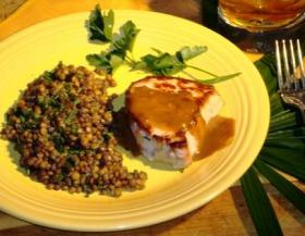 Whiskey Pork with Rosemary Lentils