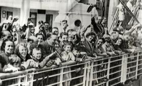 Some of the nearly 1,000 Jewish refugees aboard the St. Louis arriving in Belgium after being refused entry into Cuba and the United States.