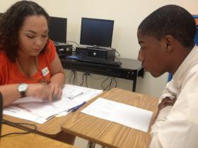 Natasha Santana-Viera and Mack Godbee talk grades and goals at Miami Carol City Senior High.