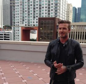David Beckham talking on the roof of a Miami-Dade College building says Port Miami is his preferred location for the stadium.