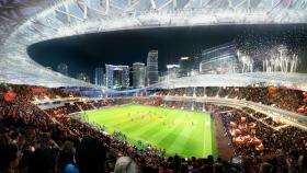 An artistic rendering of David Beckham's proposed soccer stadium. Politifact Florida rated the claim that building a soccer stadium at PortMiami would threaten jobs at the port as false.