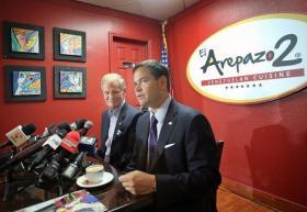 Florida Senators Bill Nelson (left) and Marco Rubio in Doral Thursday morning.