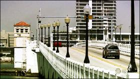 Heading west, the final stretch of the Venetian Causeway as featured in Dexter.