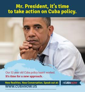One of the #CubaNow ads placed in Washington D.C. metro stations this week.