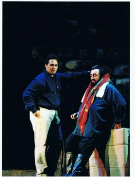 Tenor Jorge Antonio Pita in the role of Mario Cavaradossi, with Luciano Pavarotti during a rehearsal of Tosca at Covent Garden in January 2002.