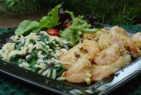 NUTTY BAKED SHRIMP WITH ROMAN SPINACH AND ORZO