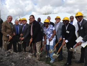 Gibson Plaza broke ground Monday with a big celebration.