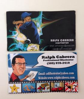 Top: Cabrera's problematic business card design. Bottom: Cabrera's current business card -- the design that caught the eye of Flanigan's general manager Nelson Arencibia.