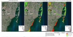 Maps of water inundation: today, 2030 with 7 inches of sea-level rise and in 2060 with 24 inches of rise.