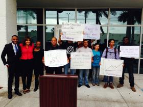 Protesters outside of Trujillo's office in Doral.