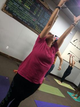 Shelah Davis teaches yoga at local breweries every Sunday.